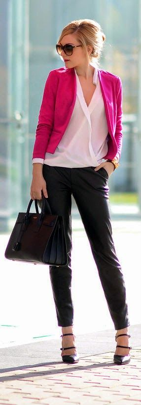 Wrap Front Blouse with Zara Black Leather Pants Top Classic Blazer - Oh My Vogue