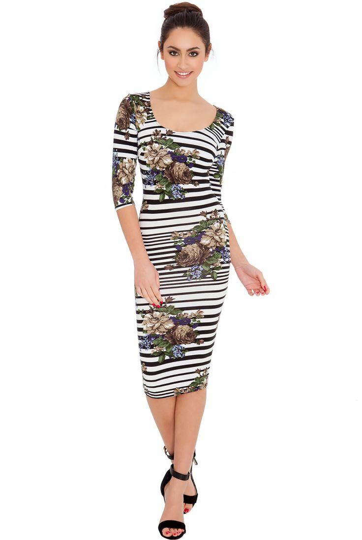 FLORAL AND STRIPE PRINT QUARTER SLEEVED MIDI DRESS #floralprint #stripeprint #mididress #casualdress #citygoddess #citygoddesswholesale #wholesale #fashion #dress