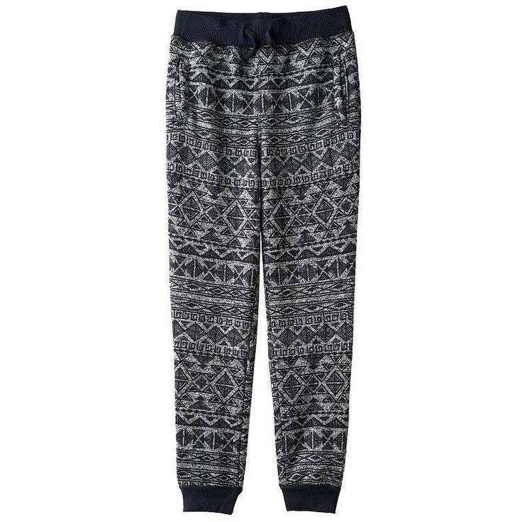 Boys 8-20 Hollywood Jeans Sweater-Print Fleece Jogger Pants, Boy's, Size: Xl(18/20), Black