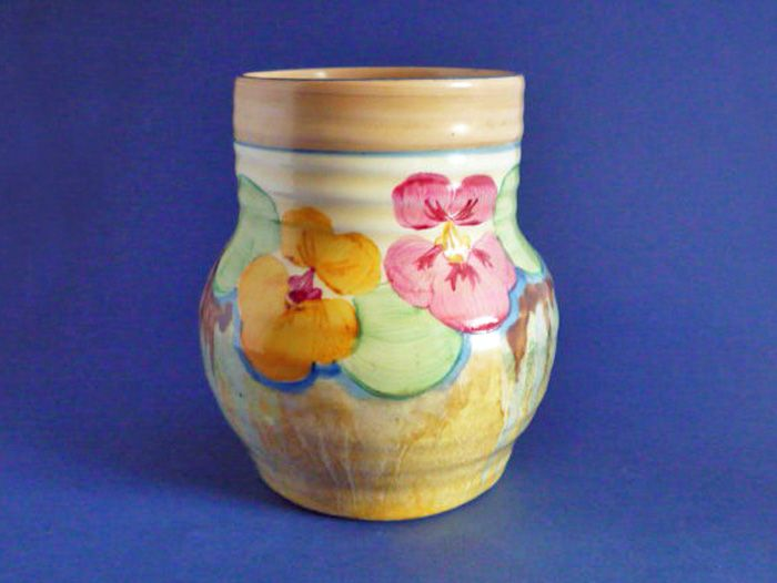 Clarice Cliff Bizarre 'Delecia Pansies' 565 Shape Ribbed Vase c1934