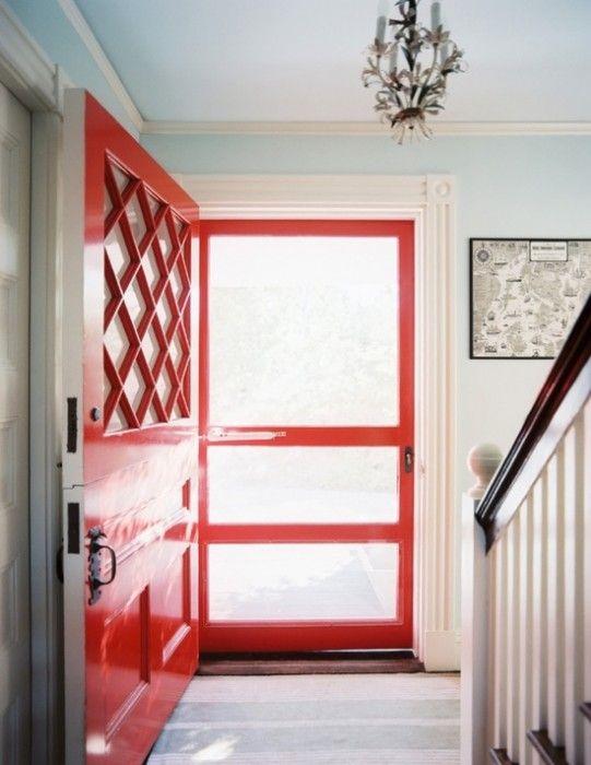 Cherry red front door & screen #splashofcolour www.britishpaints.com.au