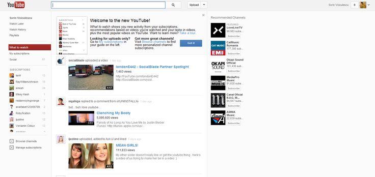 Noul design de pe Youtube