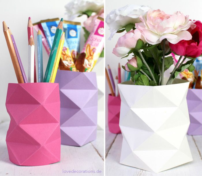 DIY Origami Vase mit Rautenmuster aus Papier  //  DIY Orgami Vase with Lozenge made of Paper