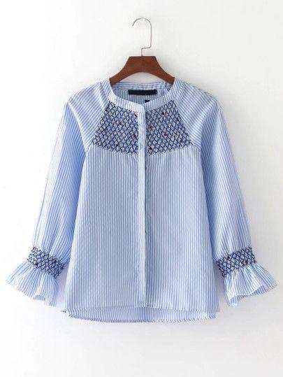 Blusa bordada de rayas verticales de manga raglán