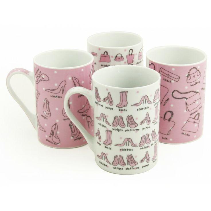 4pc Handbag  Heels Mug Set - Available at Sabichi.co.uk #sabichistyle