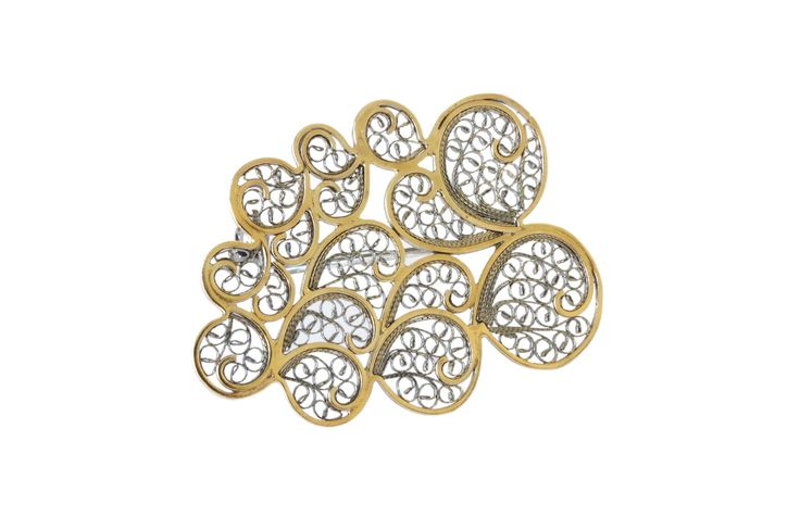 Cloud filigree brooch   Material: sterling silver, gold plated, oxidized