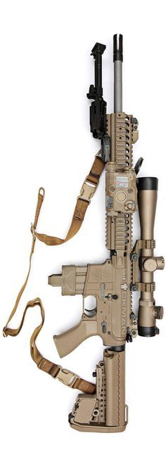 FDE Noveske carbine with a Leupold scope, and Gear Sector GS2p sling. The bipod is from Bobro, the scope mount is Knight's Armament Company. By Stickman.