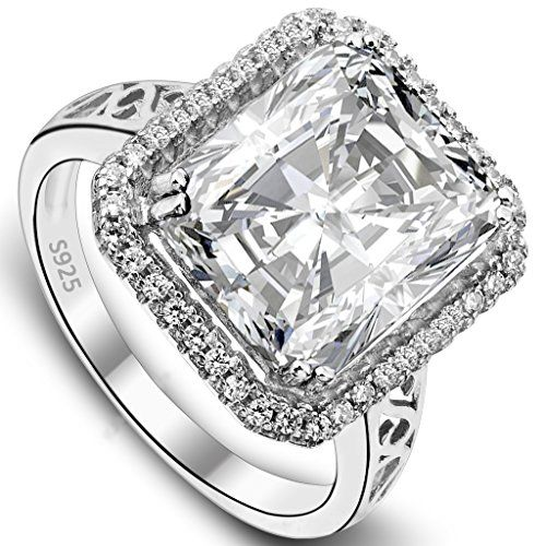 EVER FAITH Women's 925 Sterling Silver 5 Carat Radiant Cut CZ Engagement Ring Clear - Size 6. [!]EVER FAITH is a US registered trademark and Ever Faith Jewelry(former name: Kiss Bling) is its only owner. We will pursue legal action against trademark infringement in case of UNAUTHORIZED sale or resale. We have SGS Professional Certification for our Sterling Silver Items. Customers could go to a professional agency for testing them. 925 Sterling Silver is also suitable for sensitive skin to…