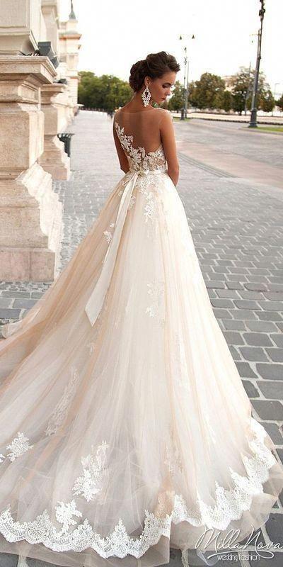 Vintage Country einfache einzigartige romantische bescheidene Spitze Seide A-Linie BOHO rückenfreies Prinzessin Brautkleid