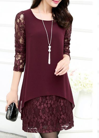 Lace Panel Long Sleeve Wine Red Straight Dress on sale only US$23.97 now, buy cheap Lace Panel Long Sleeve Wine Red Straight Dress at liligal.com