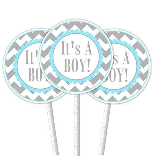 It's A Boy Gray and Blue Chevron Cupcake Toppers. ~ 24 cupcake toppers on 4.5 inch cupcake sticks. The tags on the toppers are 2 inch round and come printed on bright white premium card-stock. They come double-sided, attached securely to a white cupcake stick - ready to use in your cupcakes!.