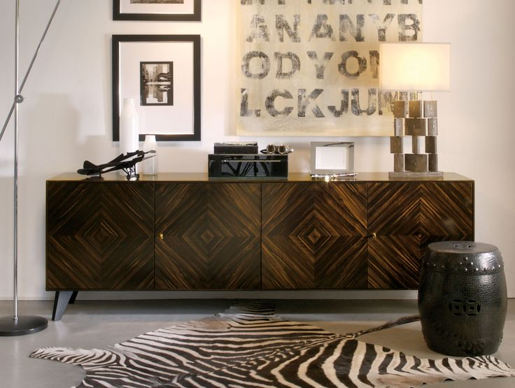 Modern Italian Credenzas Shown In Makassar With Black Stained Interiors.  Finishes: Black Gloss Legs