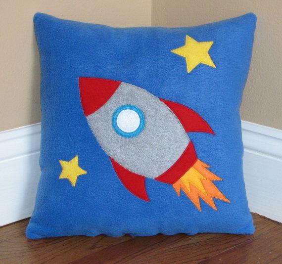 Blast Off Rocket Ship Pillow by My3SillyMonkeys on Etsy
