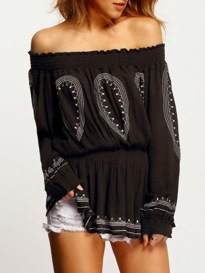schulterfreie Bluse mit Aztec Druck - schwarz
