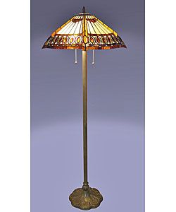 @Overstock.com - Amberjack Tiffany Floor Lamp - Add a stylish touch to any room with this handcrafted Tiffany floor lamp. Two pull chain switches controlling two lights give it an authentic look, while the stained glass shades gives it a classic appearance. The vibrant colors complement any decor.  http://www.overstock.com/Home-Garden/Amberjack-Tiffany-Floor-Lamp/2295230/product.html?CID=214117 $147.99