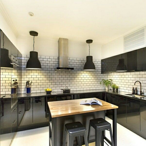 Black kitchen subway tiles