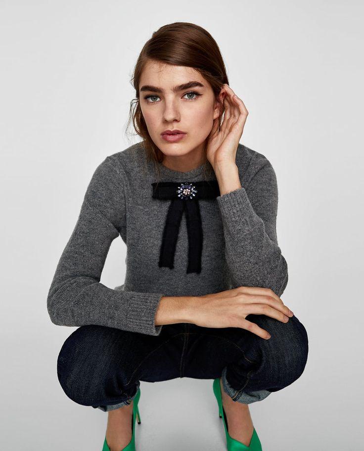 BOW APPLIQUÉ SWEATER-Sweaters-KNITWEAR-WOMAN | ZARA United States