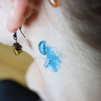 Tiny Watercolour Jellyfish temporary tattoo - Ocean, Sea Life, Blue, Large Tattoo