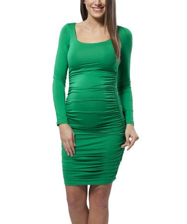 Deep Green Maternity Long-Sleeve Dress by Miccimo on #zulily