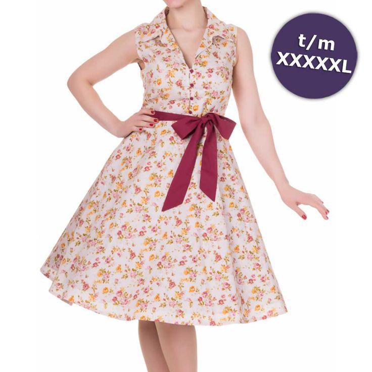Poppy swing jurk met bloemen print licht roze - Vintage 50's Rockabilly retro