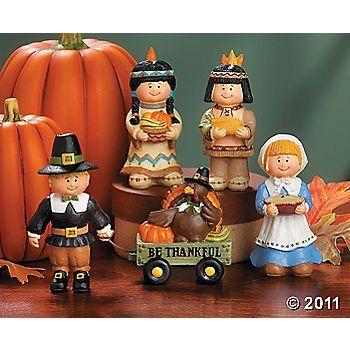 Amazon Com 5 Pc Thanksgiving Set Pilgrims Amp Native