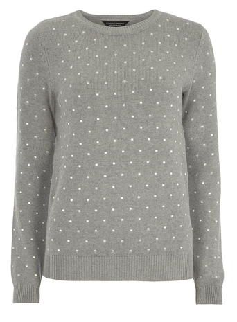 Grey Embroidered Spot Jumper