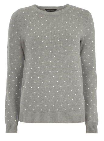 Grey Embroidered Spot Jumper