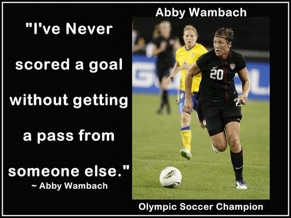 """Abby Wambach Olympic Soccer Photo Quote Wall Art Black Poster Print 8x11"""" Never Scored w/o Pass From Someone Else - Free USA Shipping on Etsy, $15.99"""
