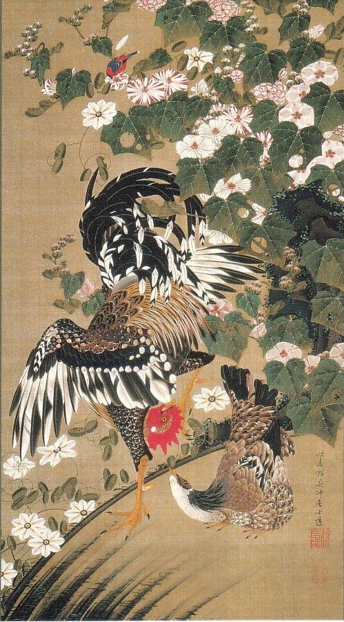 動植綵絵-10-芙蓉双鶏図(ふようそうけいず)