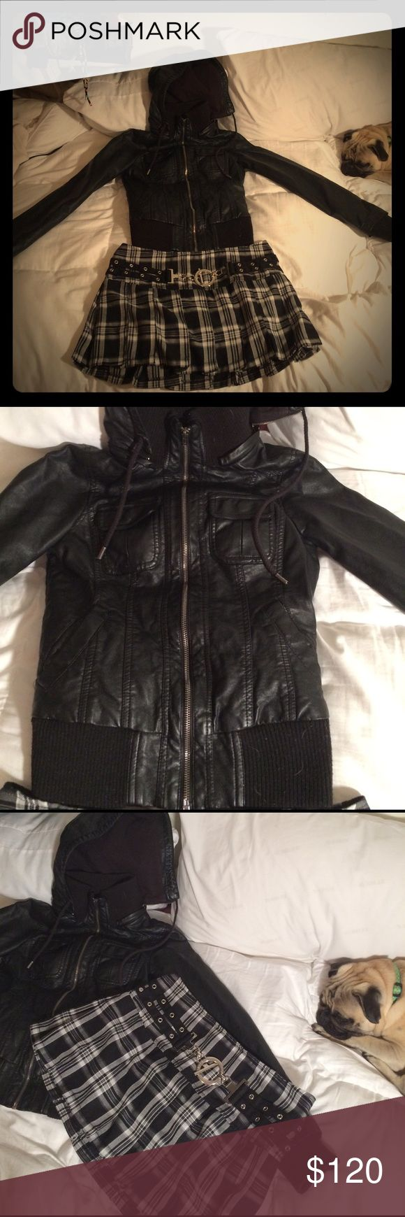 Good girl gone bad Ensemble!!! Individual listings available for more details. HOT TOPIC PLEATED BLACK PLAID SKIRT M & GARAGE LEATHER HOODIE JACKET XS (Fits Small, too) FROM NY! Garage Other