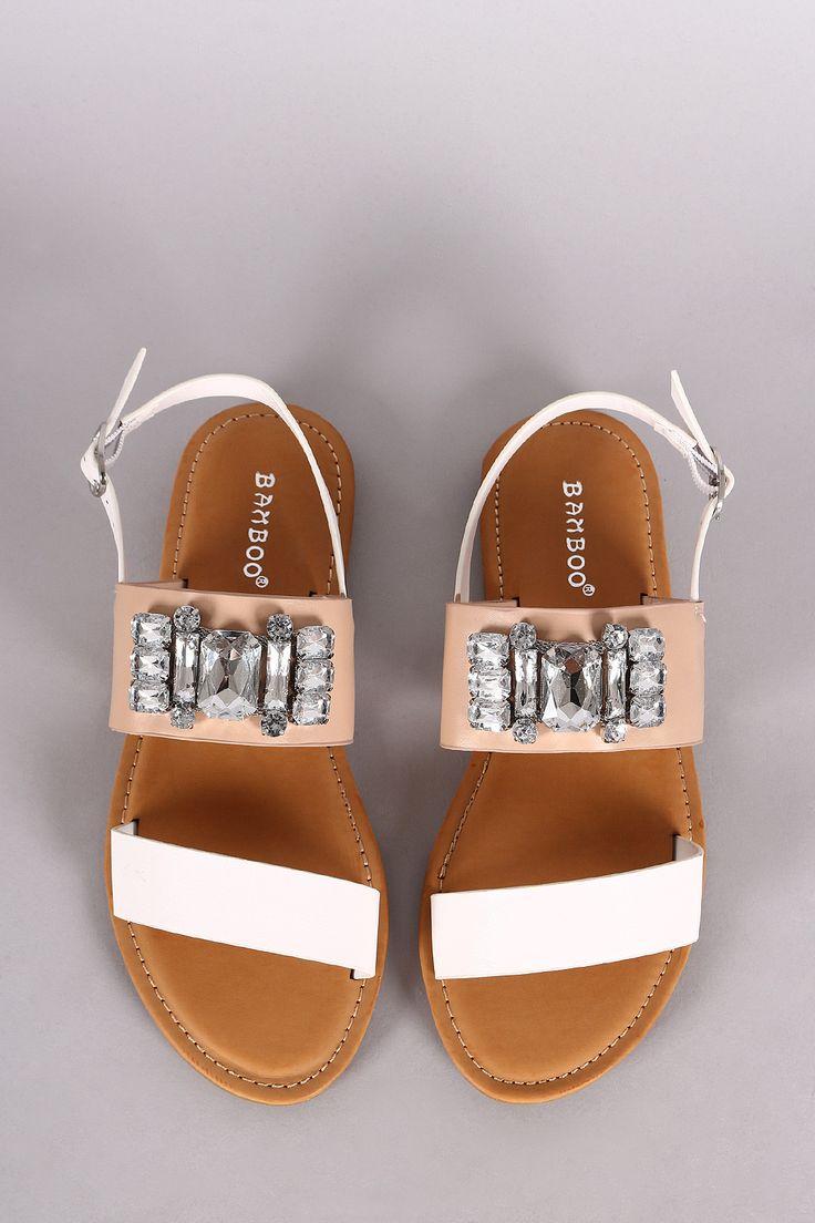 Bamboo Double Band Bejeweled Flat Sandal