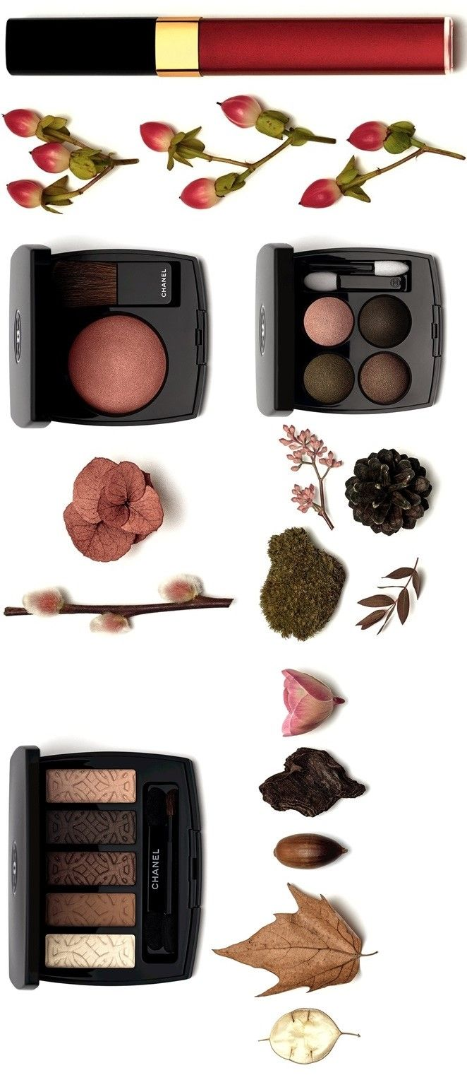"Chanel Les Autumnales Collection (Fall 2015) Limited Edition ♥ [top] Levres Scintillantes Glossimer in ""#477 Rose de Lune"" ($30) ♥ [row 2: left] Joues Contraste Powder Blush in ""Alezane"" ($45) ♥ [row 2: right] Les 4 Ombres Multi-Effect Quadra Eyeshadow in ""#254 Tissé D'Automne"" ($61) ♥ [bottom] Les 5 Ombres de Chanel Eyeshadow Palette - ""Entrelacs"" ($80)  ♥ Now available @ Nordstrom! ♥ http://shop.nordstrom.com/c/chanel-makeup"