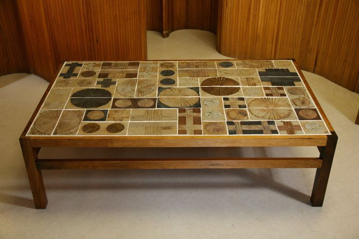 MASSIVE TUE POULSEN WILLY BECK CERAMIC TILE ROSEWOOD COFFEE TABLE 1960S DANISH