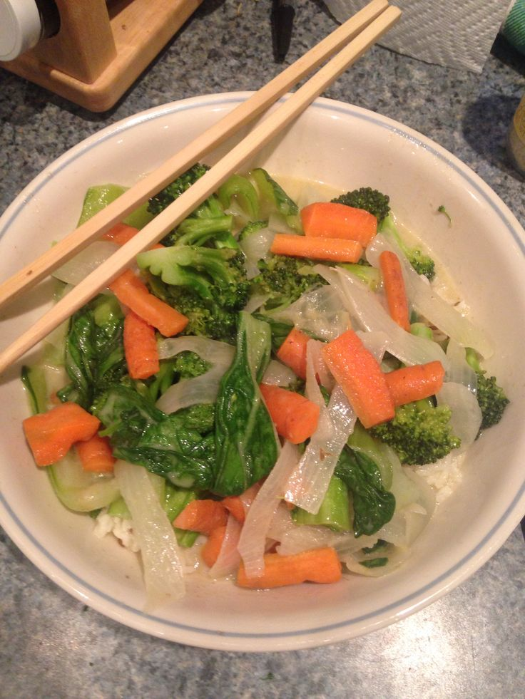 Green curry made with pok choi, carrots, broccoli, onions, coconut milk and green curry paste Adapted from :  http://www.culinate.com/books/collections/all_books/super_natural_every_day/weeknight_curry