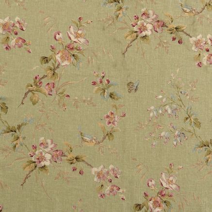 Blossom one - green     Sprigs of apple blossom and bell-shaped penstemon with birds and butterflies in four colourways.  Suitable for curtains, blinds, soft furnishings and upholstery (for upholstery use with flame retardant interliner).  55% linen, 45% viscose   135 width, 64 cm repeat  Free swatch service for up to 3 swatches, £3.50 for up to 7 swatches, please select swatch option in the drop-down menu below.  Price per metre £33.00