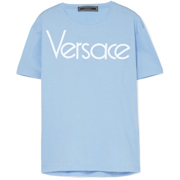 Versace Logo-embroidered cotton-jersey T-shirt ($390) ❤ liked on Polyvore featuring tops, t-shirts, retro tops, blue top, embroidery tee-shirt, embroidered tee and embroidery t shirts
