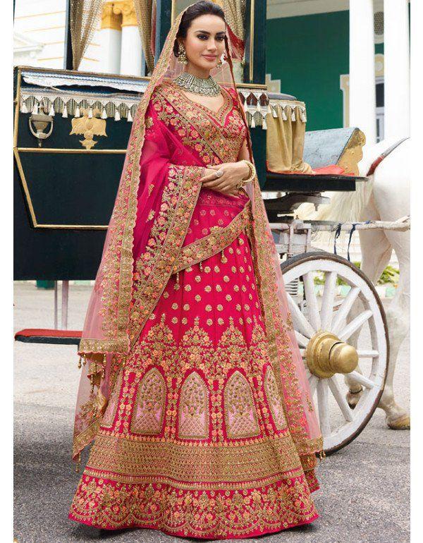 6e98095de4 Attractive Hot Pink and Rose Pink Designer Lehenga Choli with Duble Dupatta
