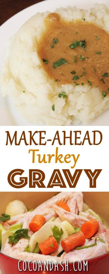 This Make-ahead Turkey Gravy is such a time saving Thanksgiving Recipe! Make ahead the day or even the month before Thanksgiving!!