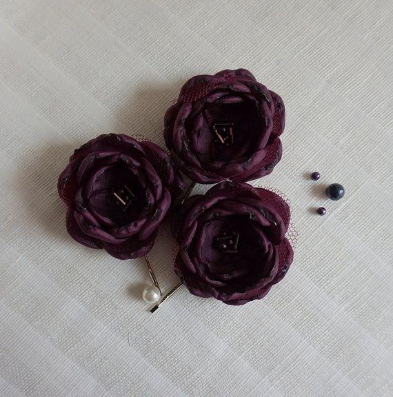 Aubergine-Haarspangen Aubergine Haare Blumen von ZBaccessory