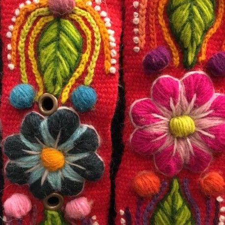 Cinturón Rojo Claro peruano bordado en lana de Huancayo - Perú