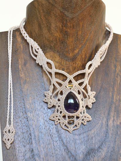 アメジストマクラメネックレス・チョーカーd - 旅する天然石とマクラメアクセサリーのお店 Macrame Jewelry MANO