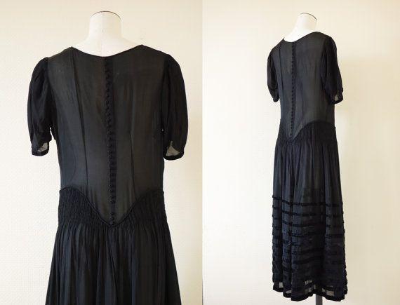 Agathe dress | Black see through chiffon silk flapper ...