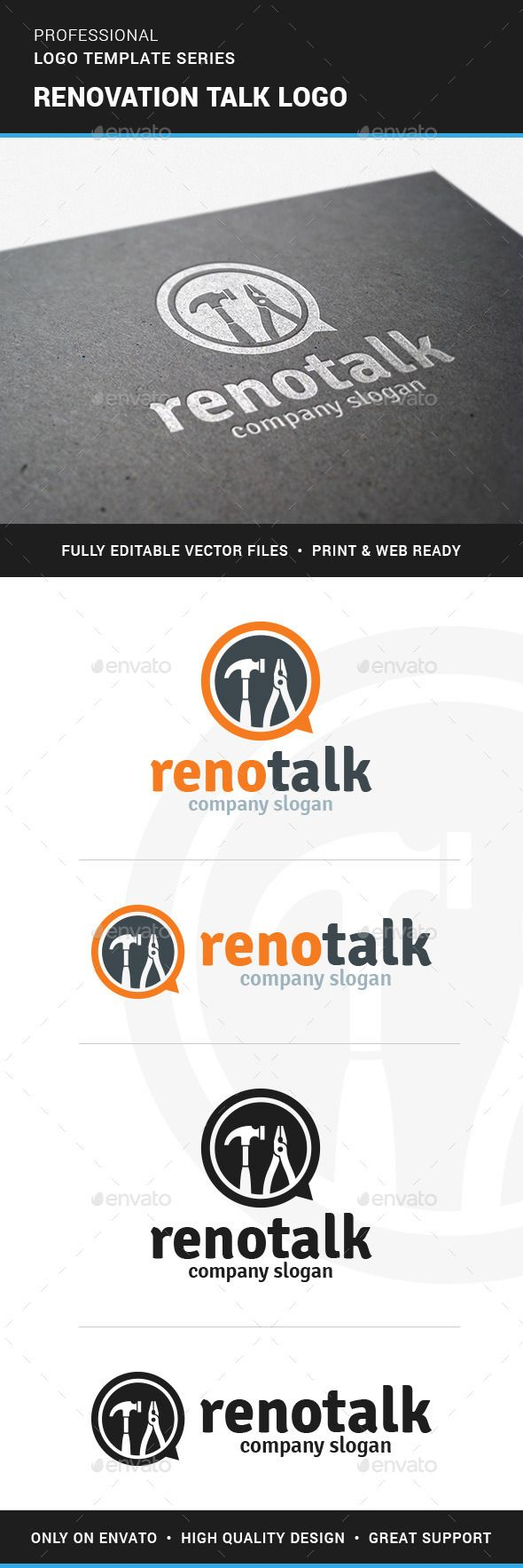 Renovation Talk Logo Template by LiveAtTheBBQ The Renovation Talk Logo TemplateA creative and modern logo for carpentry, construction and repair services. All elements are ful