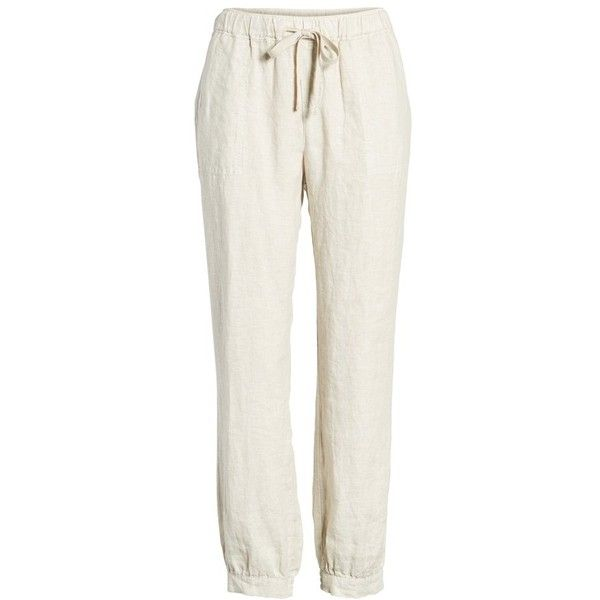 Women's Caslon Crop Linen Joggers (333705 PYG) ❤ liked on Polyvore featuring activewear, activewear pants, petite activewear, petite sportswear and petite activewear pants
