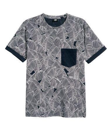 Camiseta | Azul oscuro/Hoja | Hombre | H&M CO