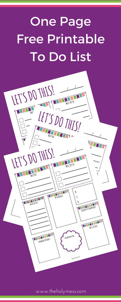 One Page Free Printable To Do List #printable #planner #diet #idea #activities