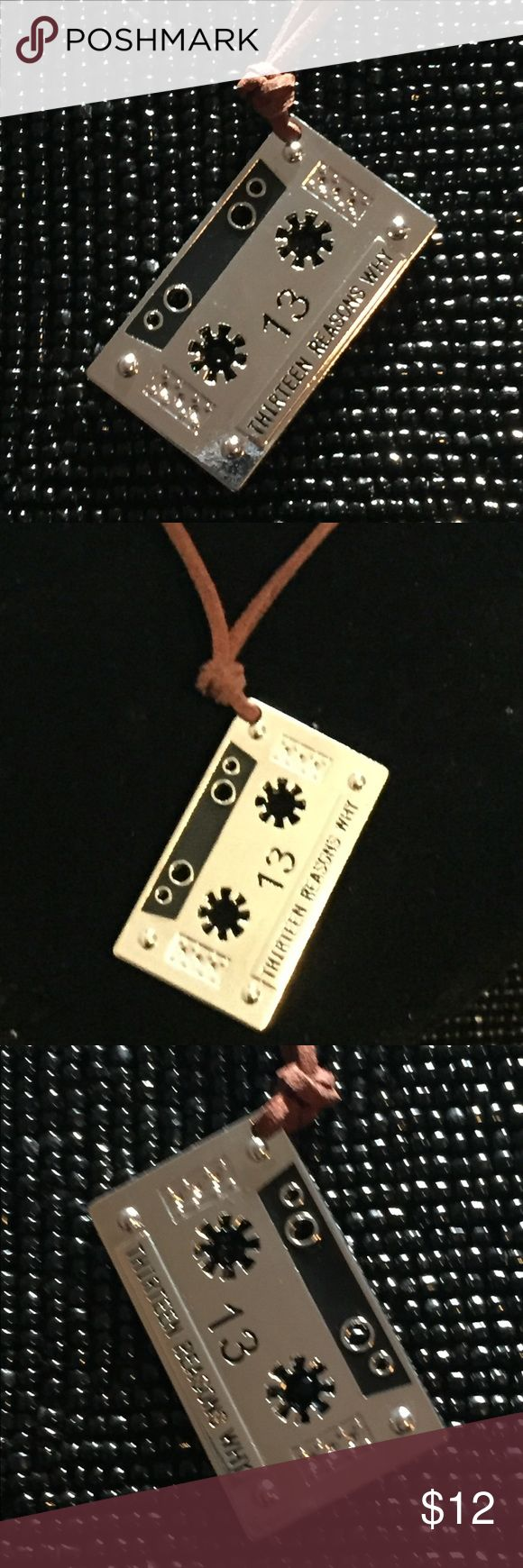 "Cult Of Personality, 13 Reasons Why Necklace NWT Emporiama's Cult Of Personality, 13 Reasons Why Necklace, NWT  *Special Price Through February 12th, After February 12th, This Item Returns To $12*  This Cassette Is A Base Of Silver Tone Metal Engraved & Stamped  Thirteen Reasons Why  The Design Appears On Both Sides The Cord Is Leather  The Cord  Measures 32"" Long  The Metal Cassette Measures 1.75"" Wide x 1"" Tall  Two Of These Are Available  Bundle Two Or More Items From My Shop & Save 25%…"