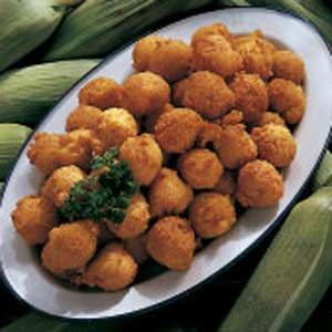 Hush Puppies .....maybe it's the pregnancy, but the cream-style corn in this recipe just sounds delicious! Throw in some fried fish filets and potato salad & I think we have a meal!