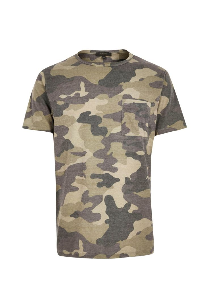 Checkout this Dark green camo T-shirt from River Island