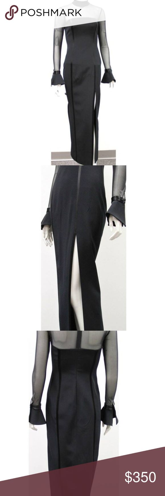 """Oleg Cassini Evening Dress Sz 2 This dress is amazing. Perfect if you want an edgier  but sleek look.  Form fitting, body con  shape with a black sheer panels on both the chest and arms. I'm in love with the bell cuffs and the thigh high slit.  Very in right now.  Dimensions : size 2 10.0"""" W x 6.0""""H x 8.0""""D  Condition:  Good Oleg Cassini Dresses Maxi"""